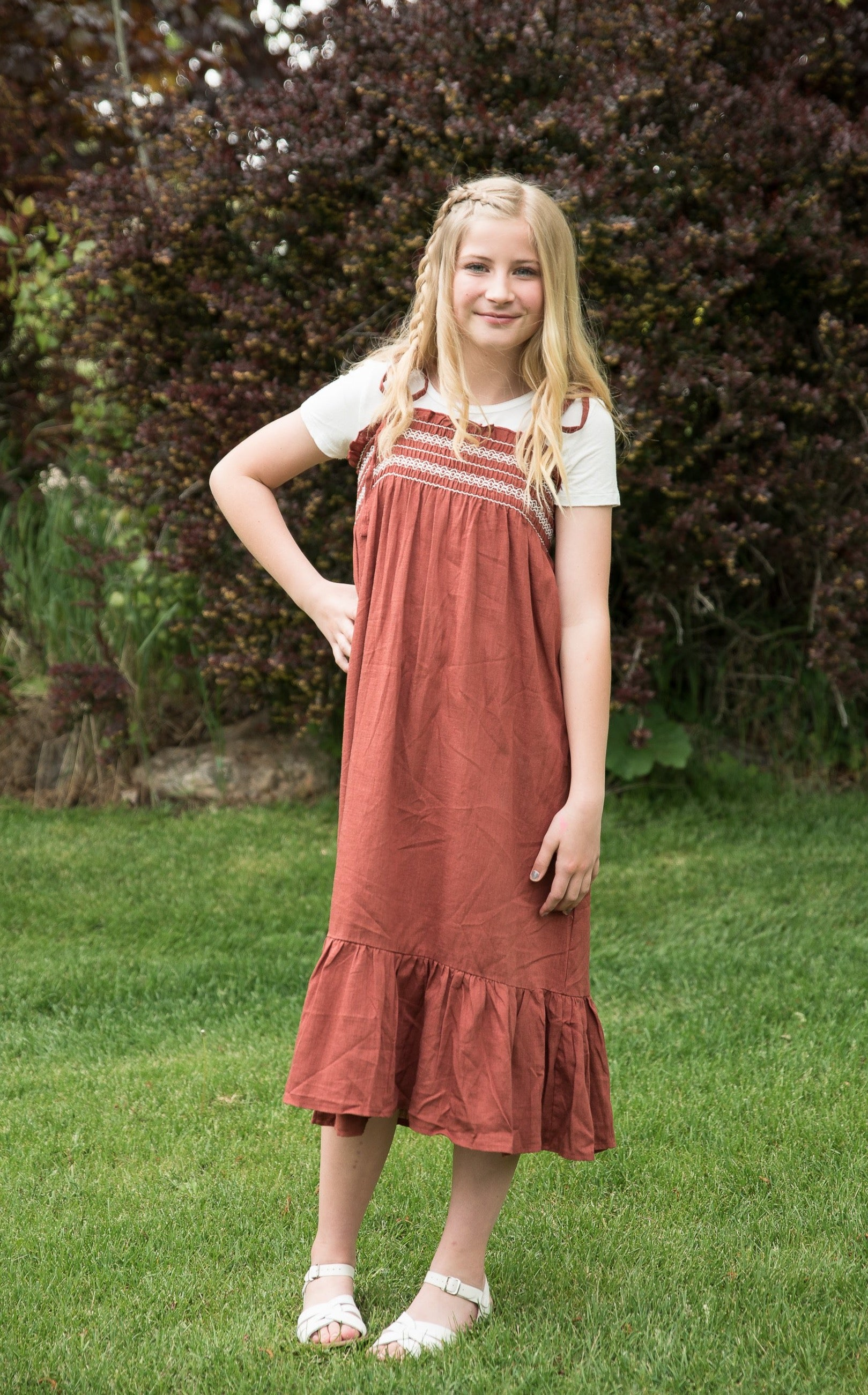Girls Smocked Boho Maxi Dress- Coffee Brown - Duckthreads