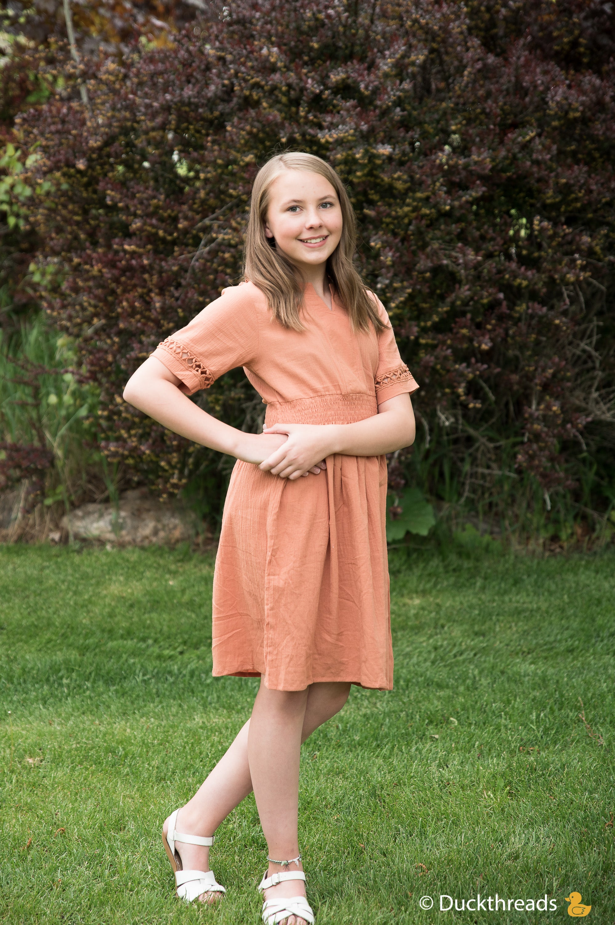 Girls Summer Flare Dress with Sleeve Cut-Out Details - Duckthreads