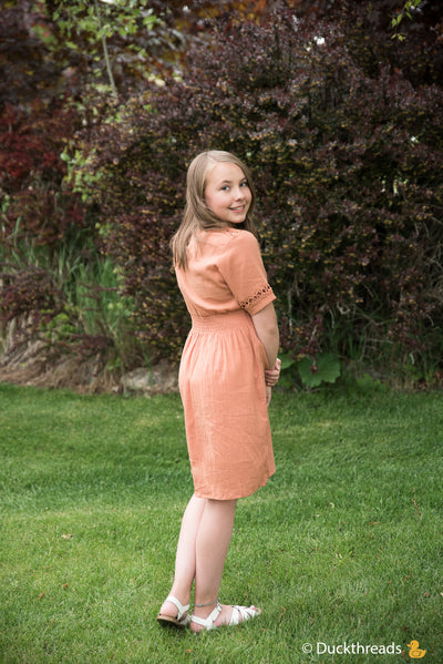Girls Summer Flare Dress with Sleeve Cut-Out Details Duckthreads
