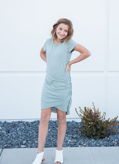 Casual light-weight mini dress in Steel Blue
