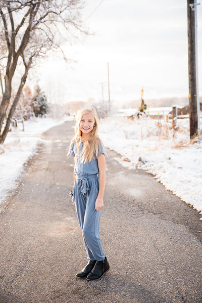 DT Brielle jumpsuit in dusty blue Duckthreads