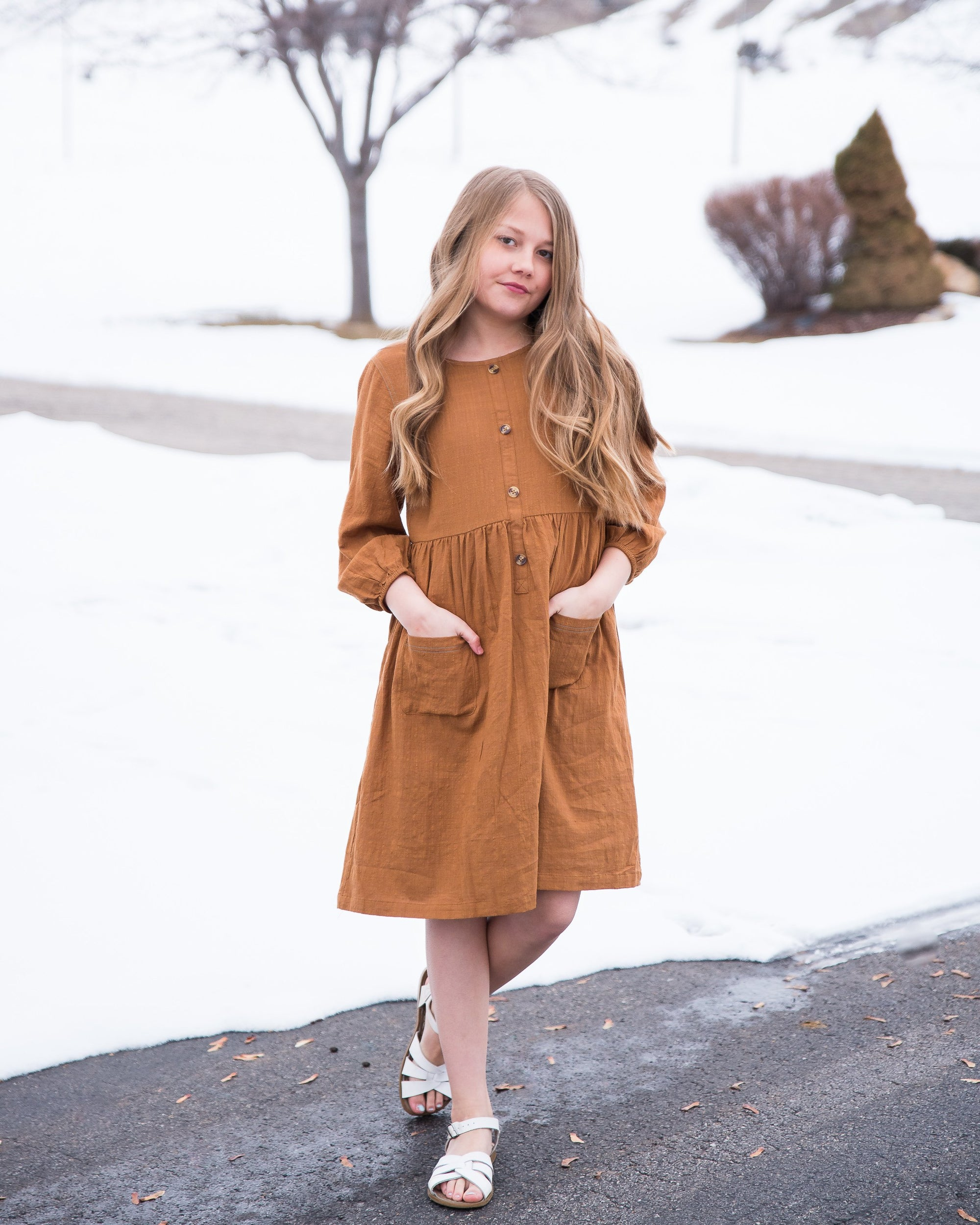 Button-Down Midi Peasant Dress for Girls - Duckthreads