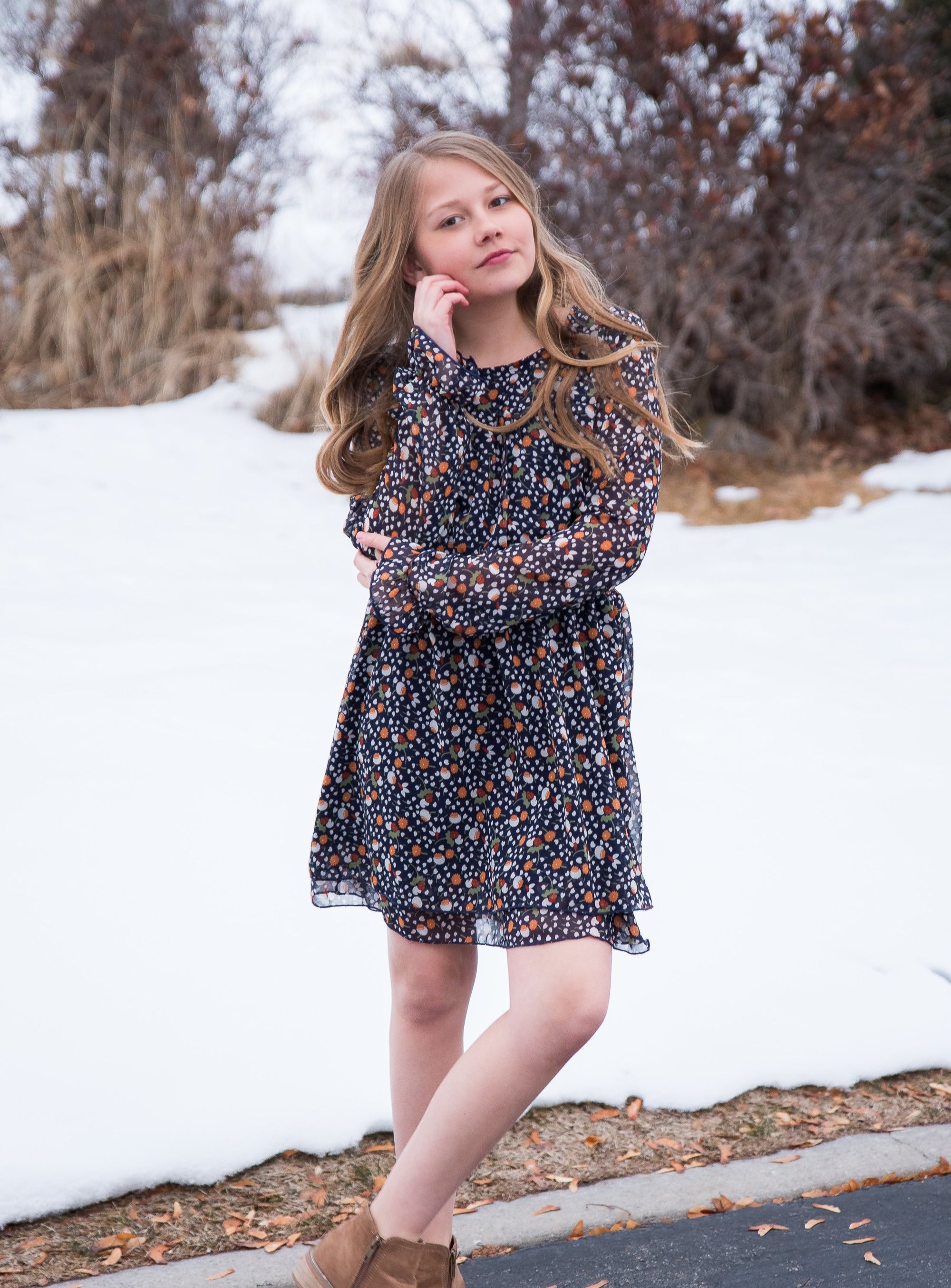 Girls Floral Smocked Dress With Long Sleeves - Duckthreads