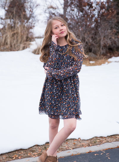 Girls Floral Smocked Dress With Long Sleeves Duckthreads