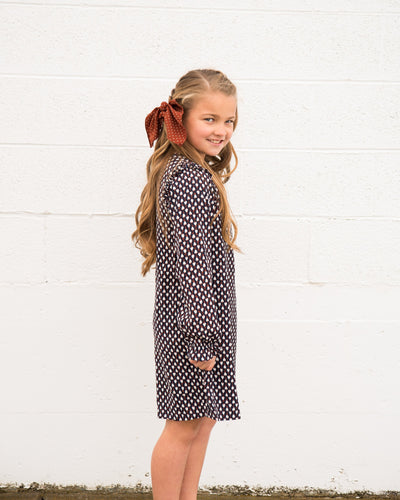 Geometric Print Shift Dress for Little Girls Duckthreads