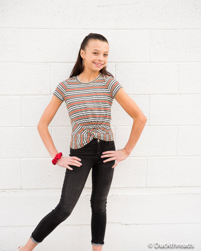Red & Black Striped Twist-Front Tee - Duckthreads