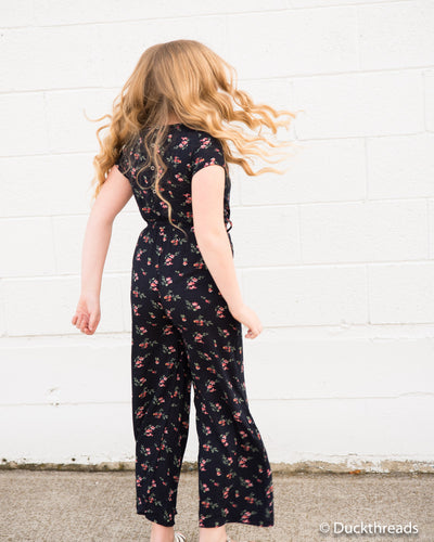 Madison Girls Jumpsuit Romper - Navy floral Duckthreads