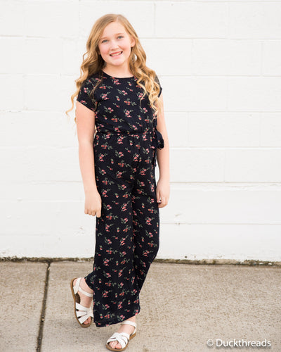 Madison Girls Jumpsuit Romper - Navy floral - Duckthreads