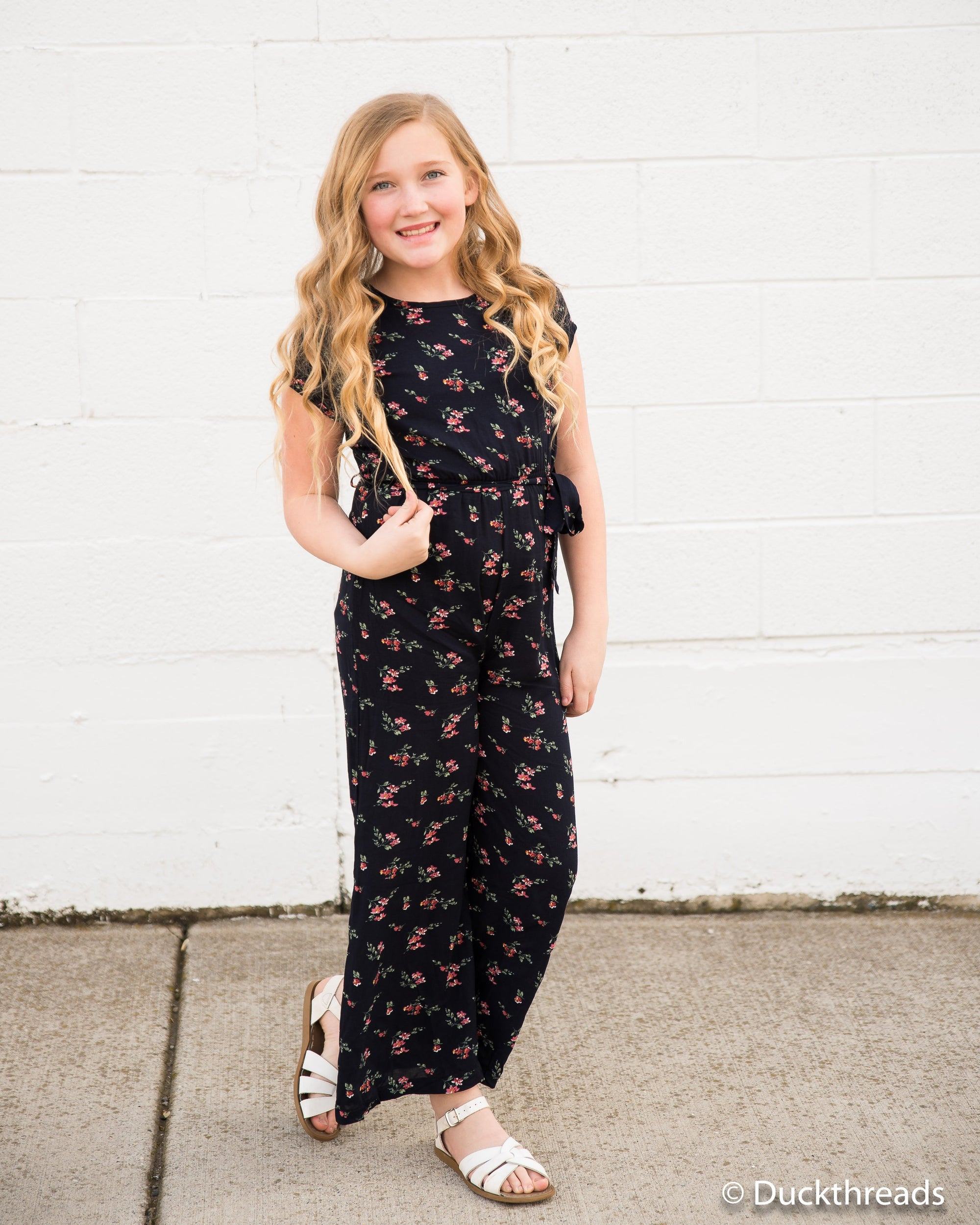 Madison Girls Jumpsuit Romper - Navy floral