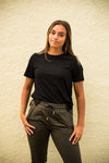 DT Alyssa Rib Knit Split Hem Tee in Black