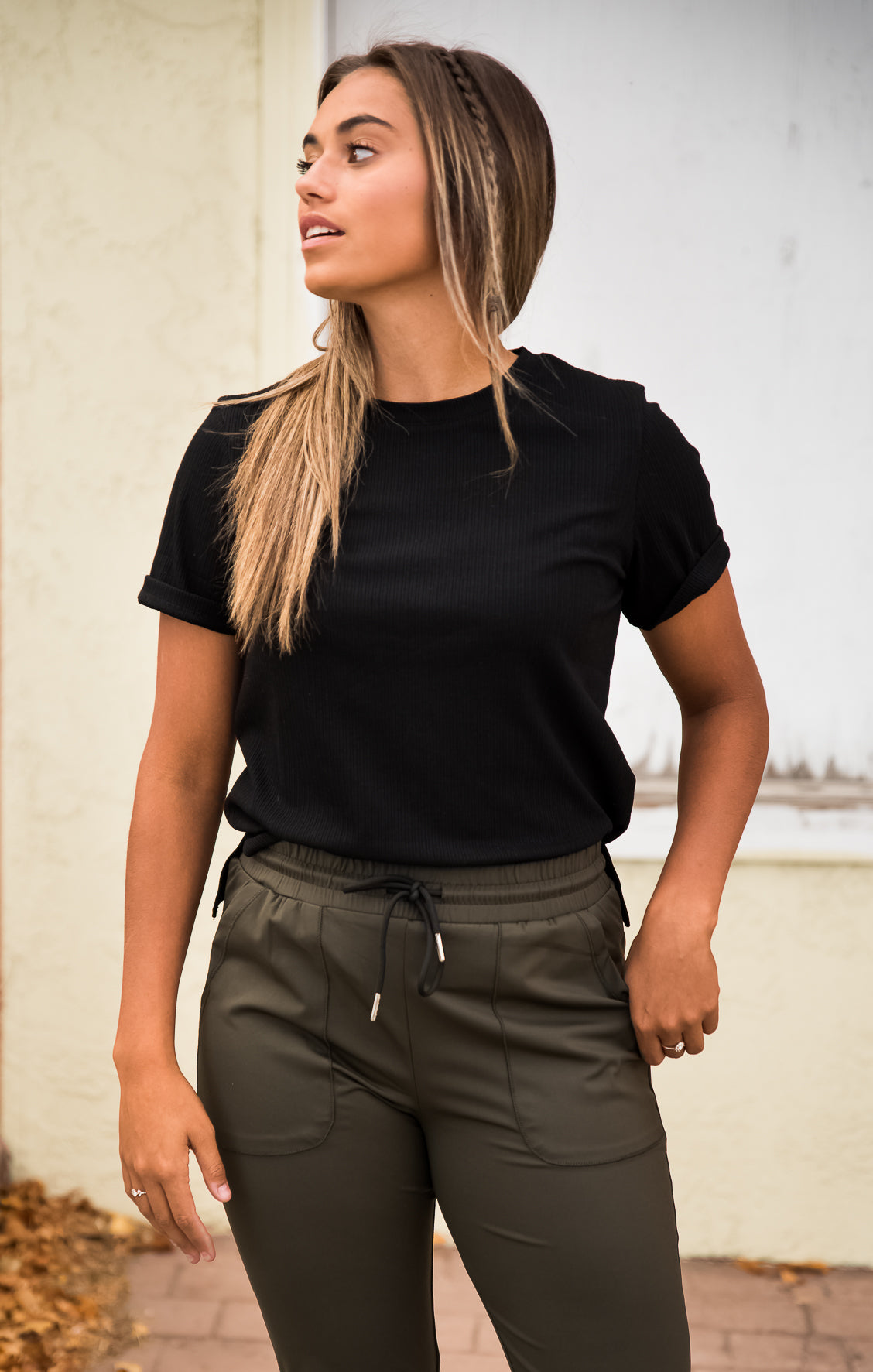 black ribbed tee, short sleeves, modest top, Duckthreads