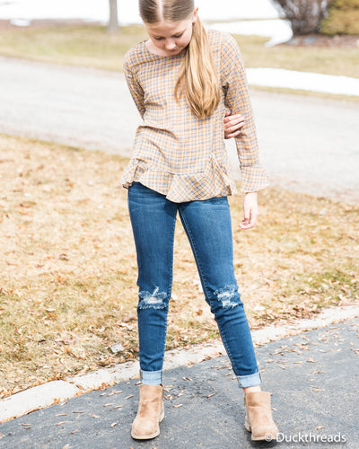 Plaid Bell Sleeve Top Duckthreads
