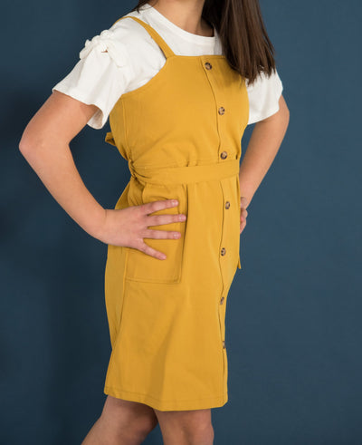 Sawyer Button Front Mini Dress - Mustard yellow or Faded Clay Pink Duckthreads
