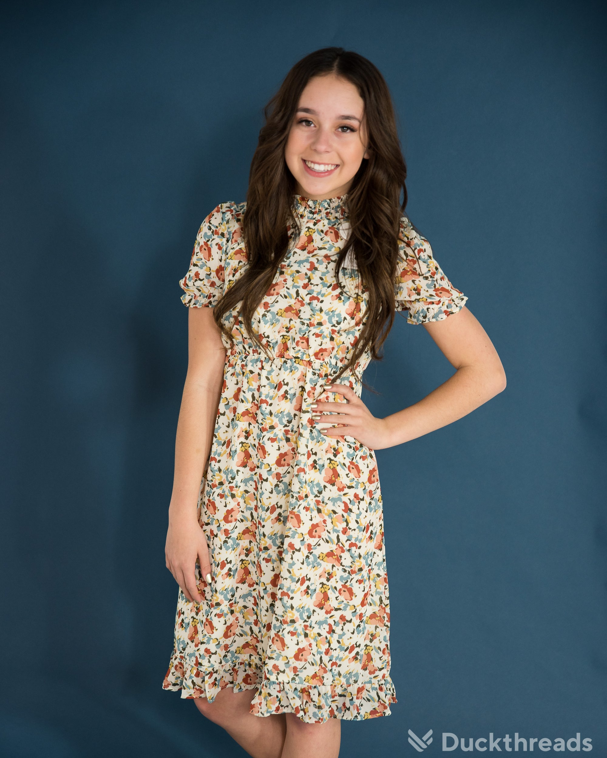 Girls Floral Print Midi Dress with Mock Turtleneck