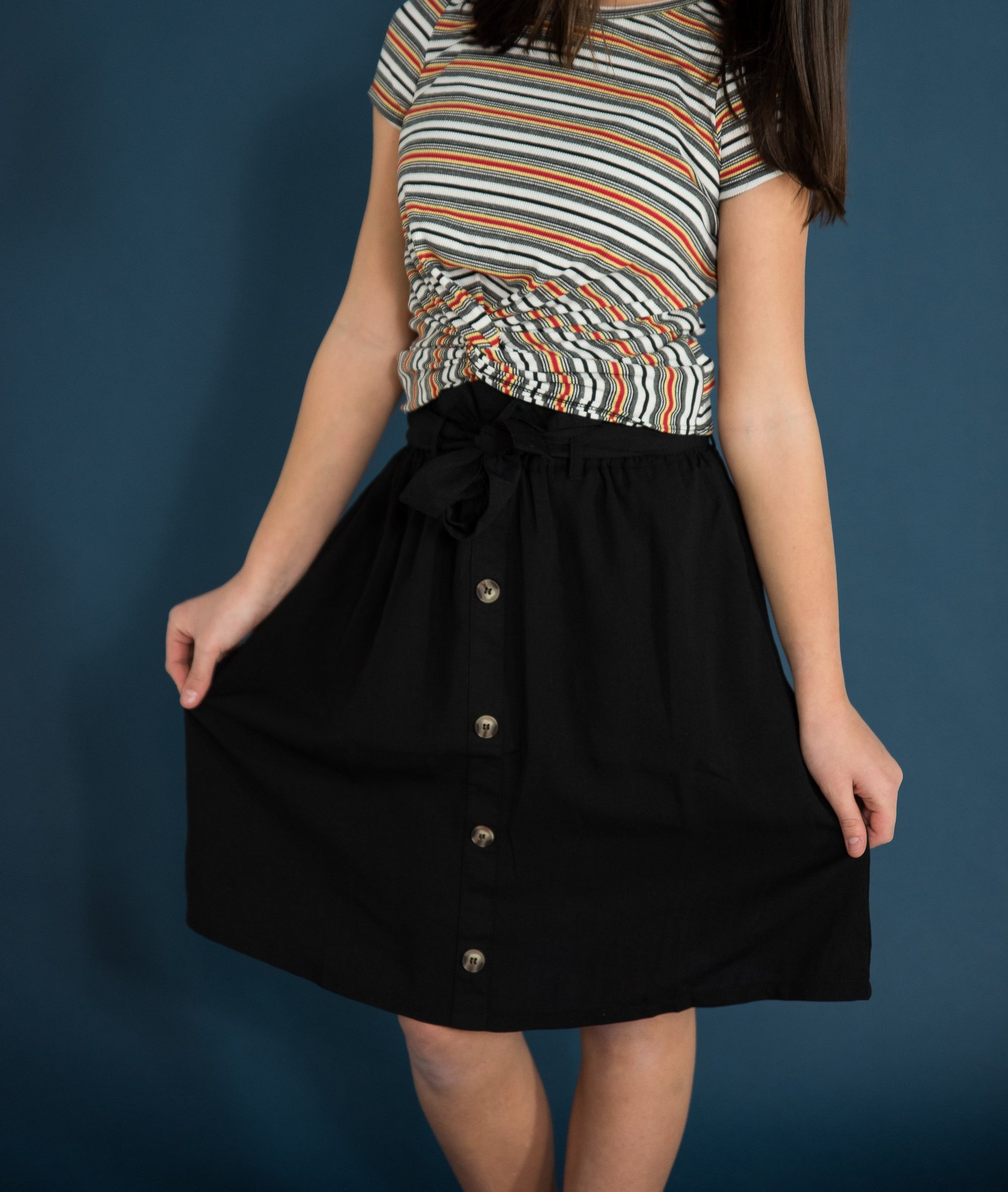 Cameron Midi Skirt in Black Duckthreads