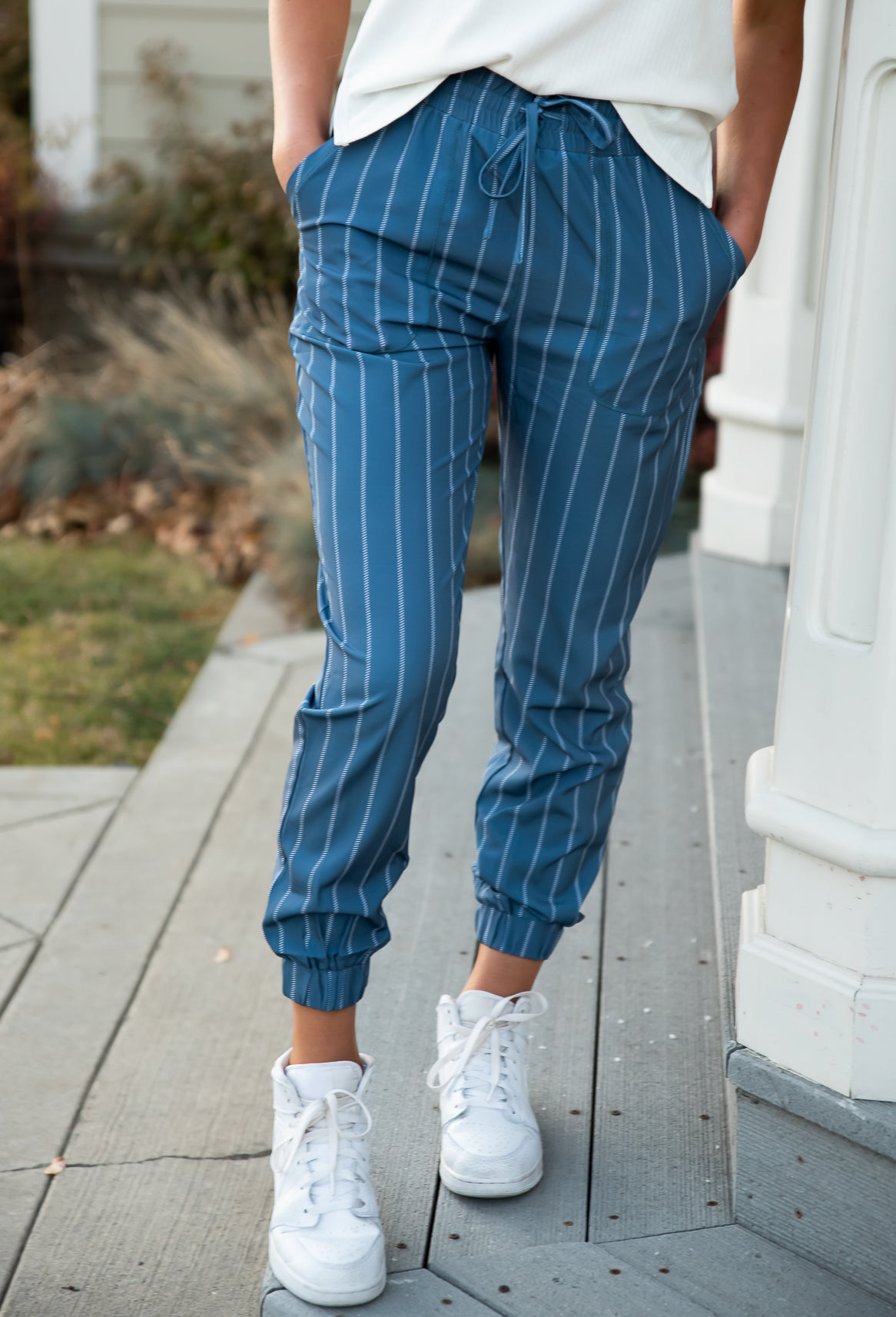 DT UPTOWN Lightweight Joggers in Steel Blue Stripe  *Limited Edition*