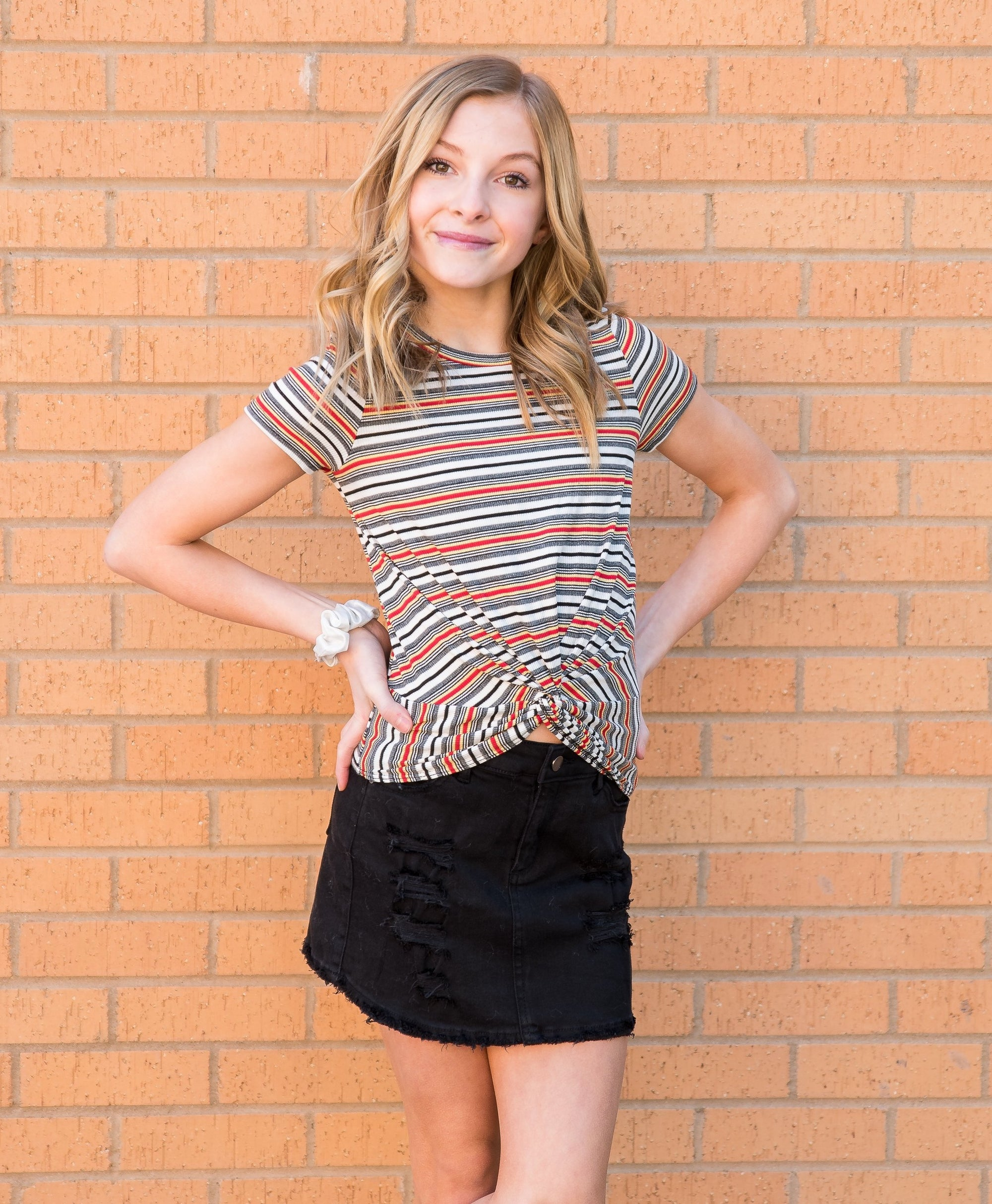 Tractr Distressed Black Mini Skirt for Girls - Duckthreads