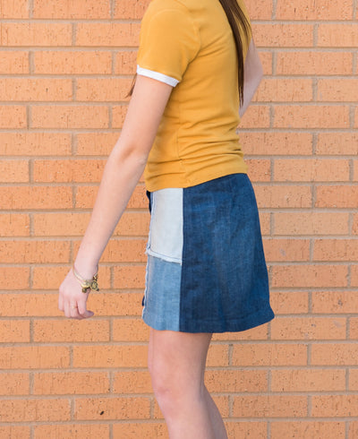 Tractr Denim Patchwork Mini Skirt for Girls Duckthreads