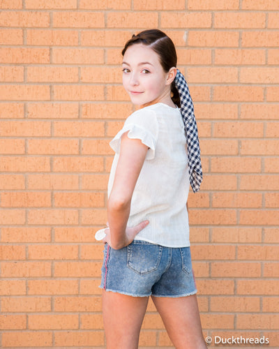 Tractr Side-Stripe Denim Shorts for Girls Duckthreads