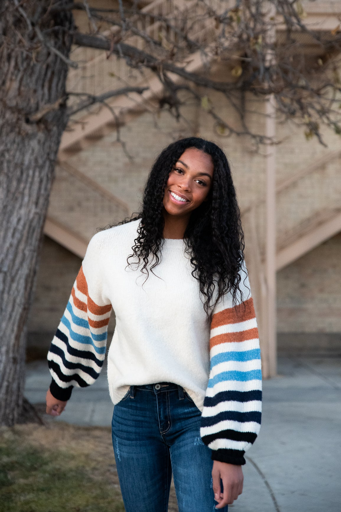 Eden Super Soft Sweater with Striped Sleeves in Ivory