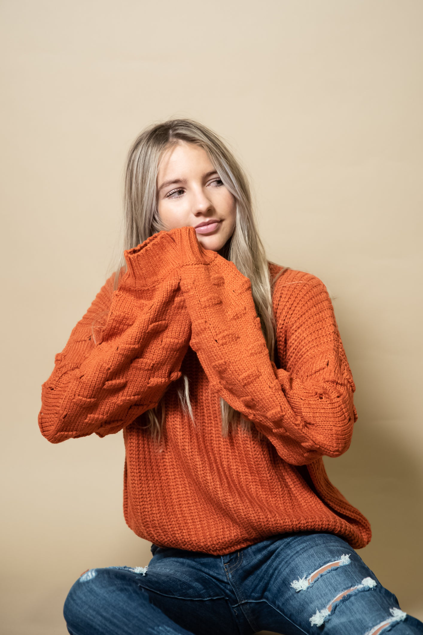 Ava Balloon Sleeve Sweater in Orange