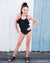 Black Ruffle One Piece swim suit Duckthreads