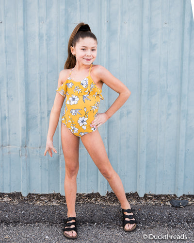 Yellow Floral Ruffle one piece swim suit Duckthreads