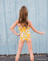 Yellow Floral Ruffle one piece swim suit