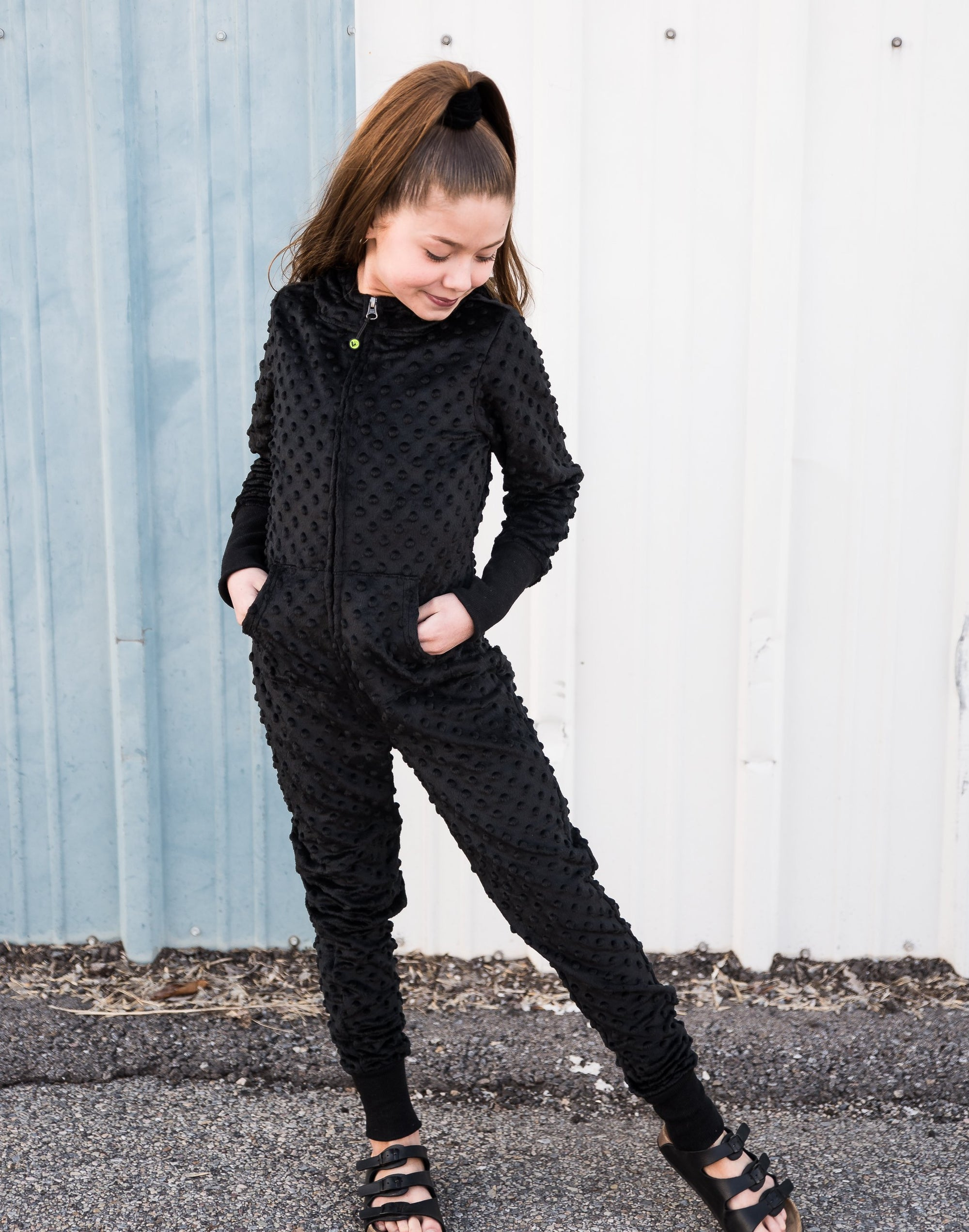 Minky bubble onesie - Black Duckthreads