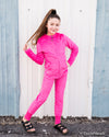 Minky bubble slim-leg joggers - Fuchsia - Duckthreads