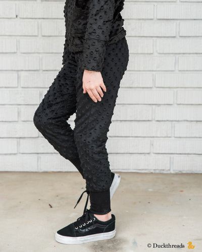 Minky Bubble slim-leg joggers - Black