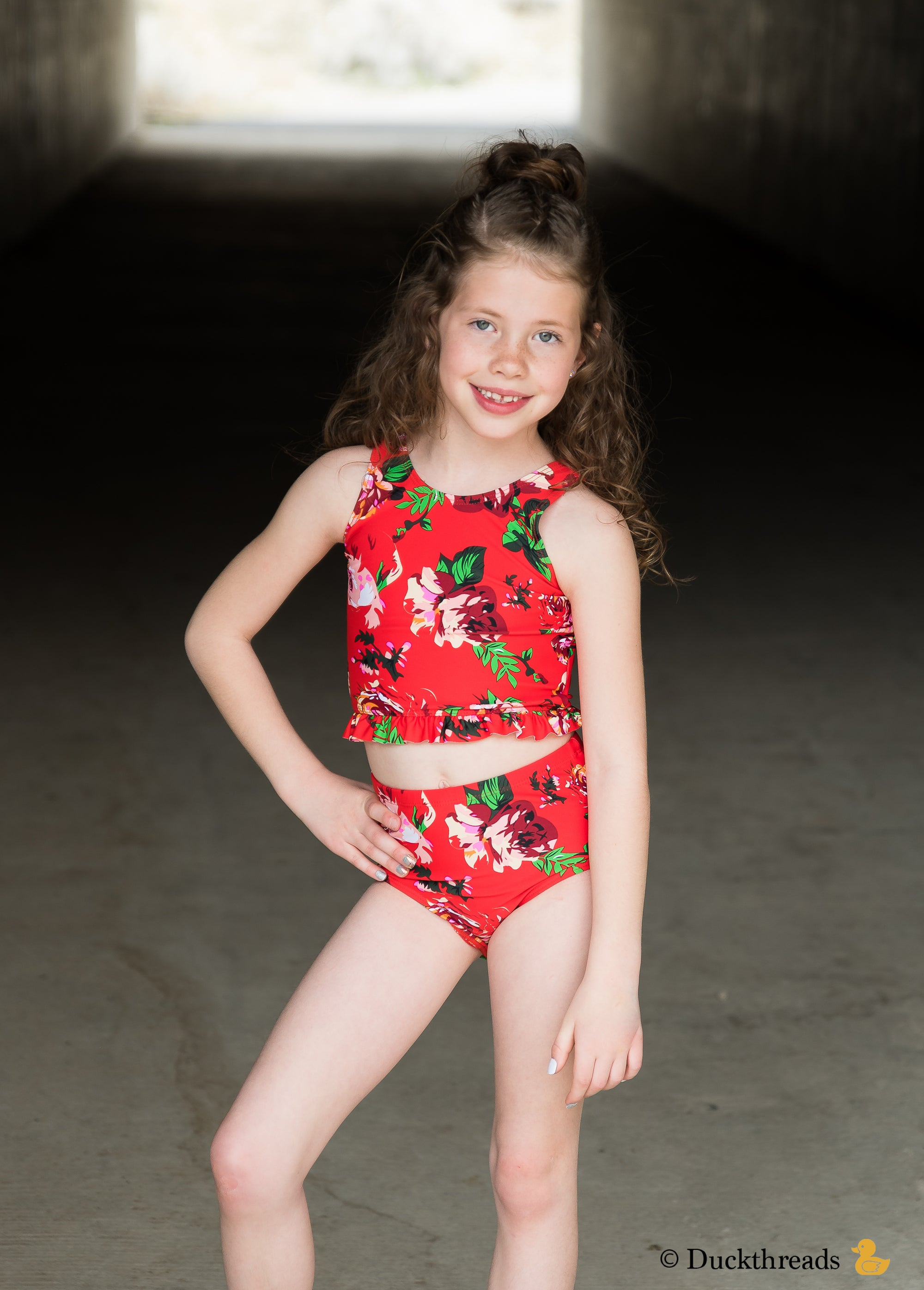 Red Floral Little Ruffle Swim Top by Janela Bay