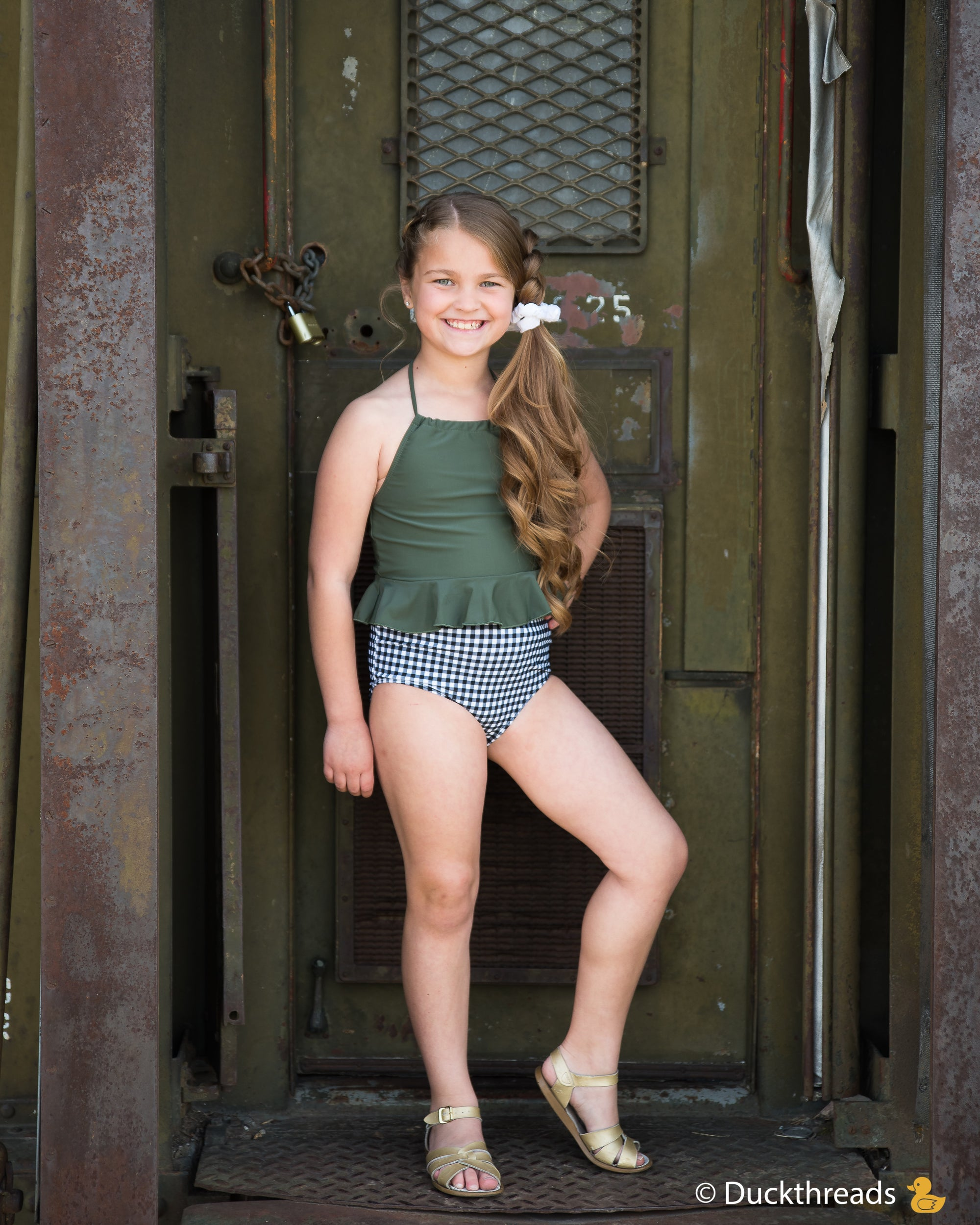Olive Peplum Swimsuit Top Duckthreads