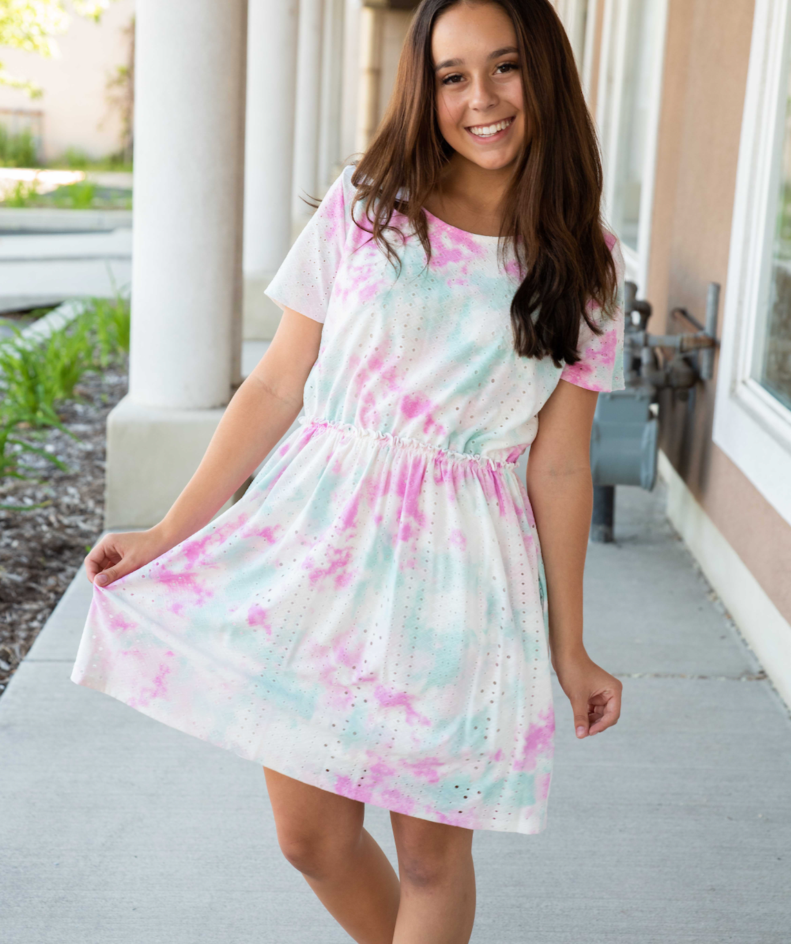 Tie Dye Eyelet dress in Teal & Pink - Duckthreads