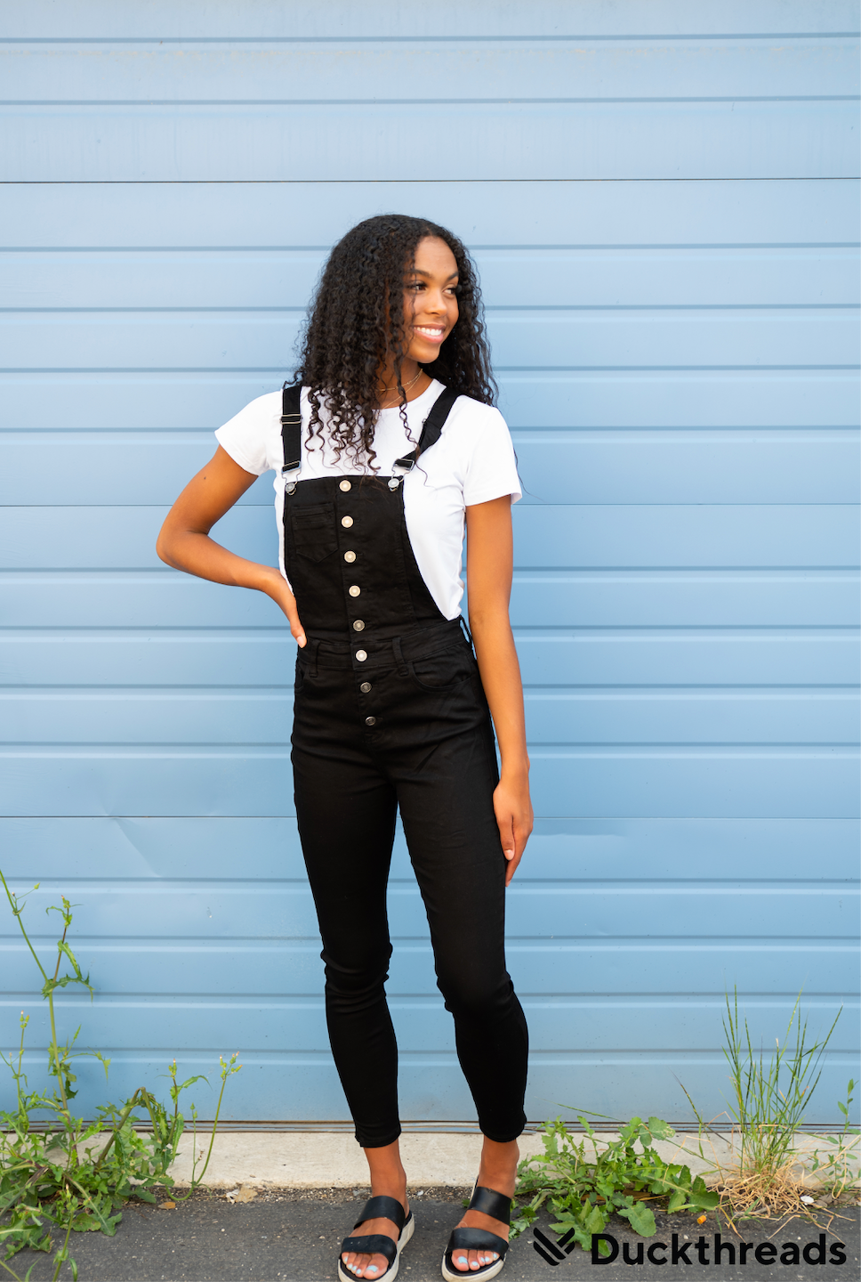 Kancan Black Denim Overalls for Women