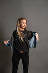 Clara Oversized Denim Jacket with Ribbed Waist - Duckthreads