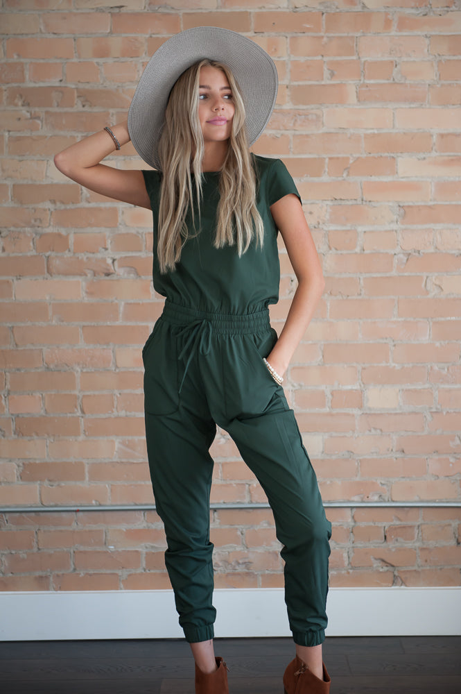 "DT UNITY Women's Jumpsuit with Pockets in ""Green Canyon"""