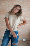 DT Short-sleeve Drawstring Waist Textured Tee in Sand