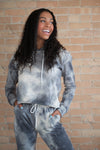 Kesley Leroy Tie Dye Hoodie with raw hem in grey - Duckthreads