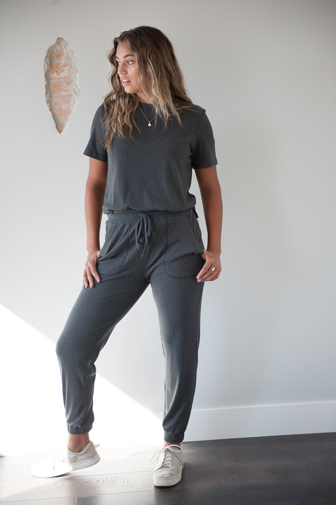 DT Amalia 2 piece ribbed lounge set loungewear in Charcoal grey, with pockets - Duckthreads
