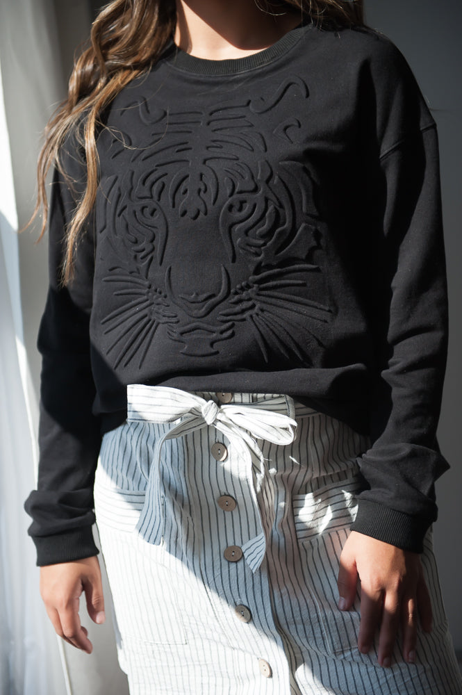 DT Tiger Queen embossed graphic sweatshirt in Black - Duckthreads