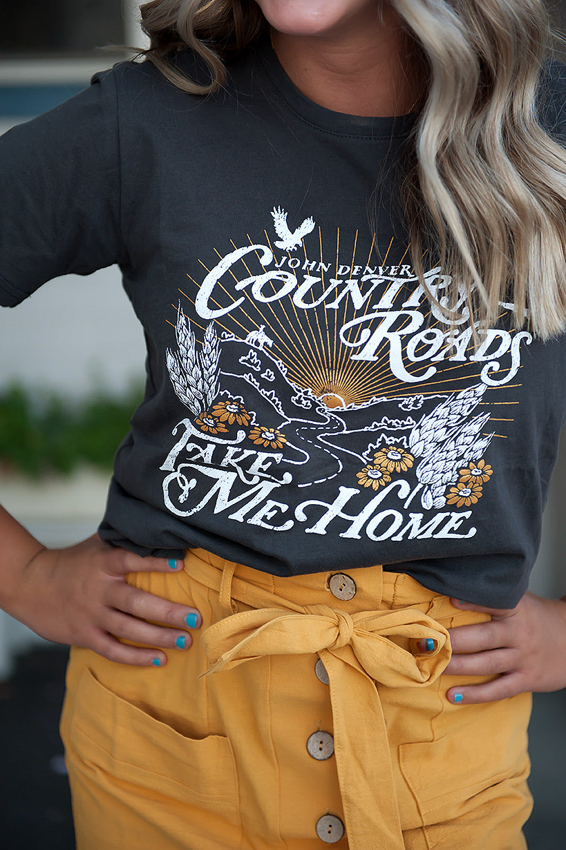 Take Me Home Country Roads Graphic Tee in Charcoal Grey