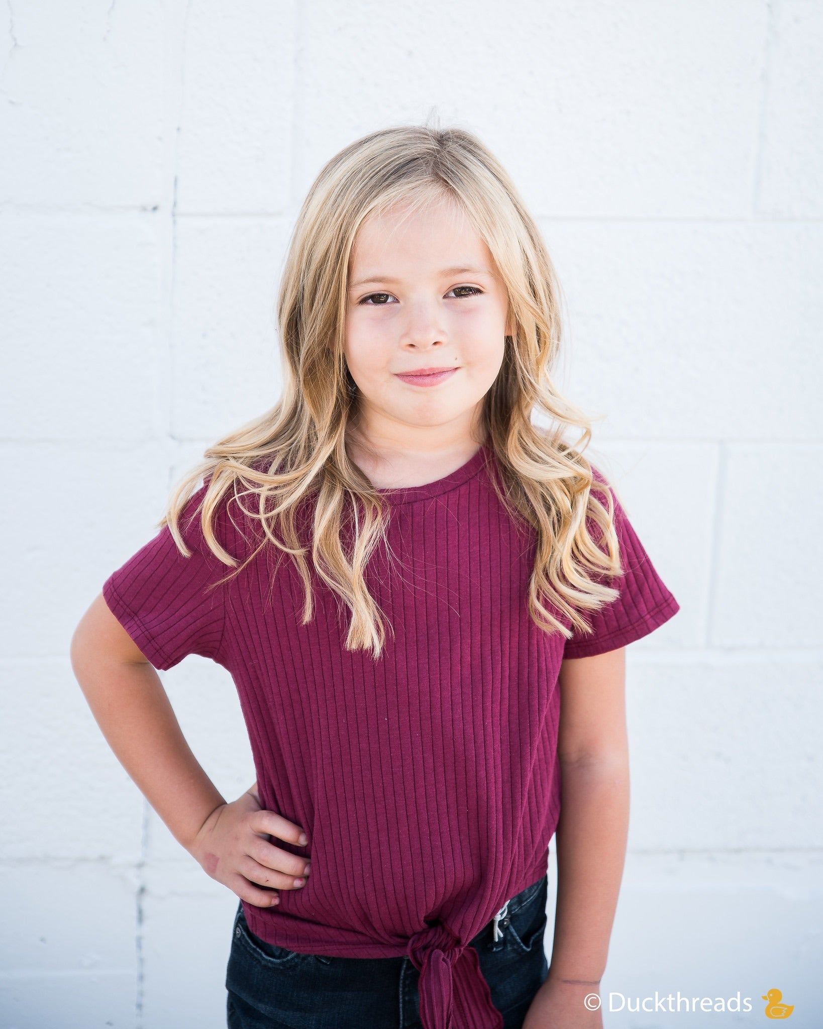 Girls Ribbed Tie Bottom Tee - Pink and Burgundy