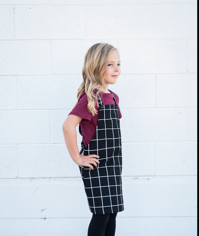 Little Girls Overall Dress with Front Pocket by Darby Duckthreads