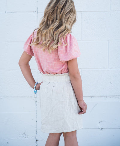 Front Button Paper Bag Skirt - Oatmeal