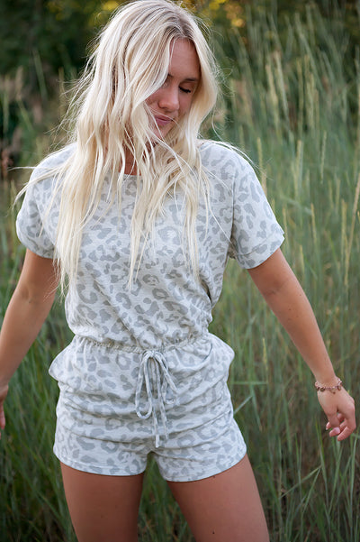 Grey Leopard Romper - Duckthreads