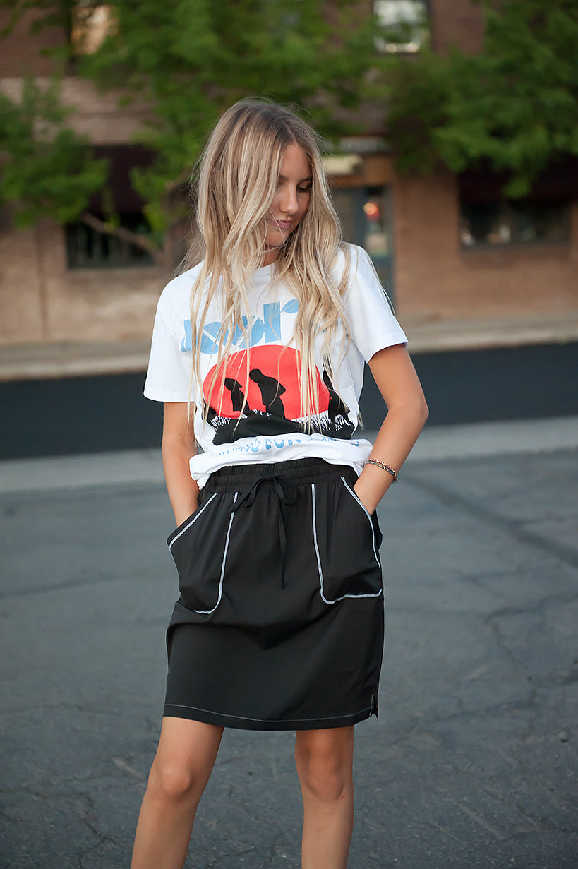 DT BREEZE Sporty Skirt in Black with Contrast Stitching with FREE matching scrunchie! - Duckthreads