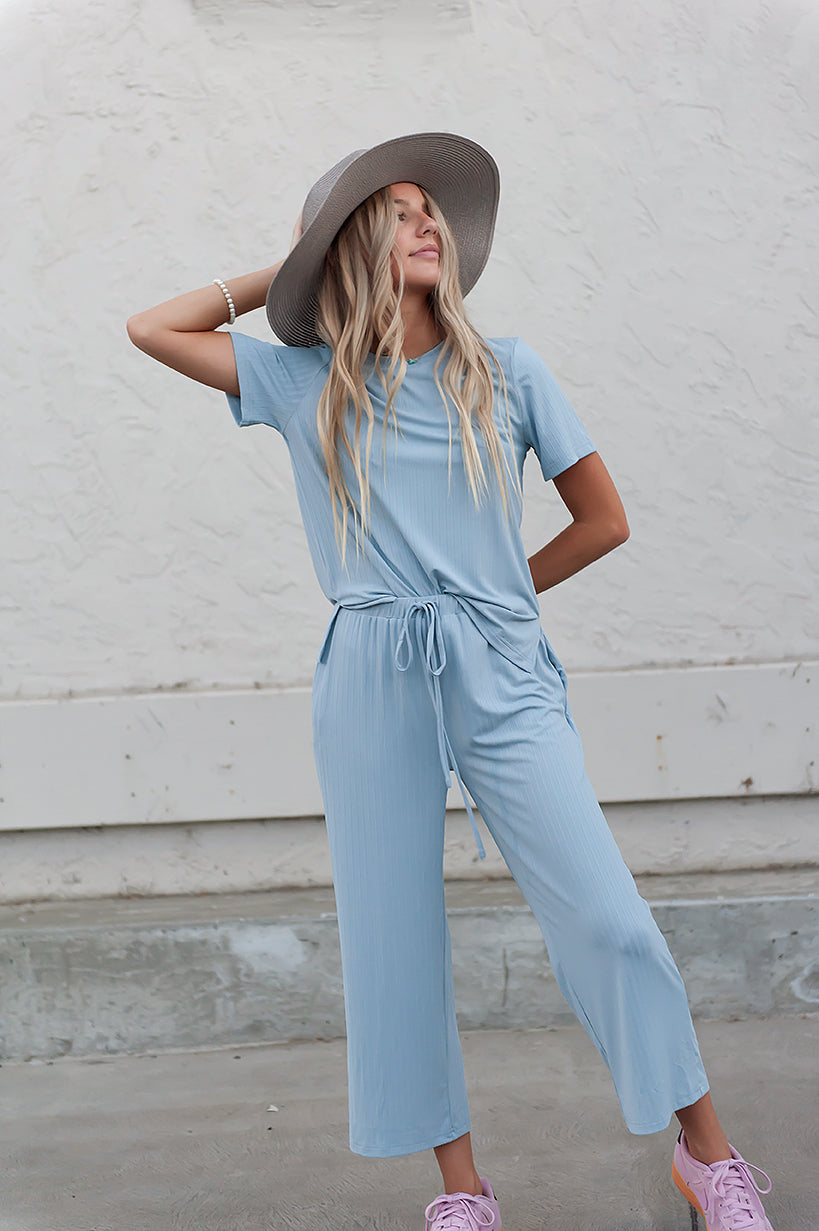 DT Emma two-piece set: ribbed tee & cropped palazzo pants in Baby Blue