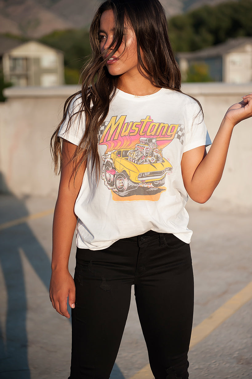 Neon Mustang Graphic Tee in White - Duckthreads