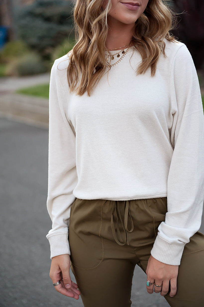 Super-soft Contrast Side Sweater in Cream - Duckthreads